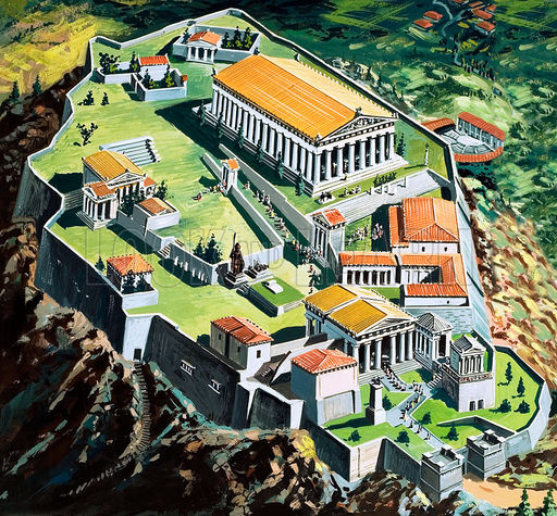 The city of Athens in Ancient Greece